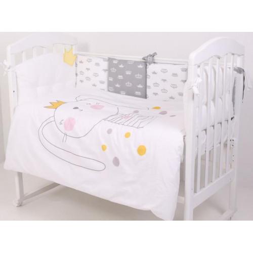 Комплект в кроватку Топотушки Зайка с короной 6 предметов