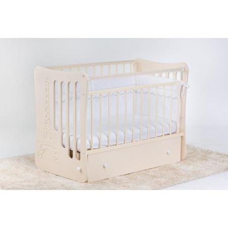 Кроватка детская «Вояж» маятник поперечный с ящиком - Айвори