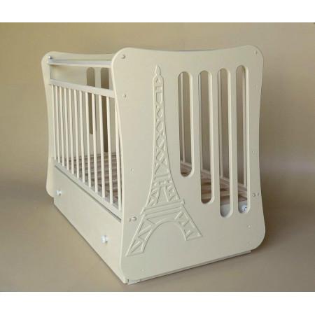 Кроватка детская «Вояж» маятник поперечный с ящиком - слон. кость