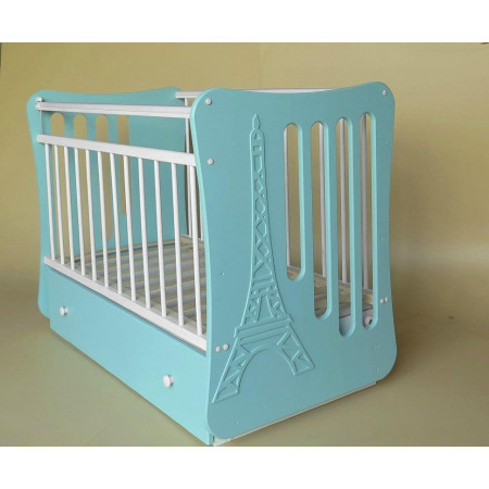 Кроватка детская «Вояж» маятник поперечный с ящиком - тиффани