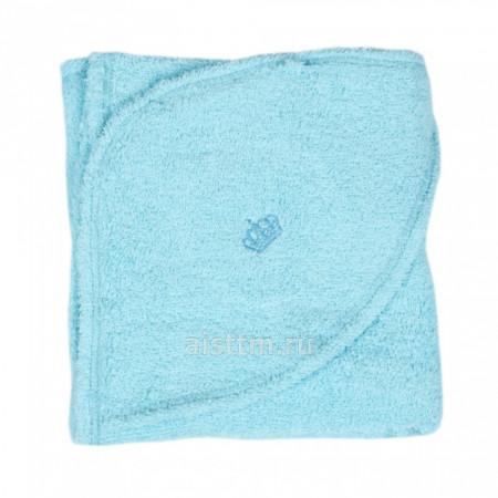 Пеленка-уголок с капюшоном махра 110x80 -  blue