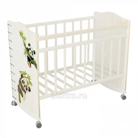Кровать детская Морозко колесо качалка - Белый белый панды