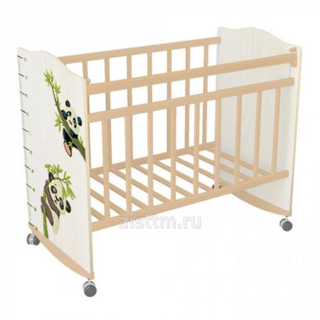 Кровать детская Морозко колесо качалка - Беж слоновая кость панда