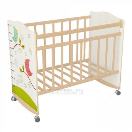 Кровать детская Морозко колесо качалка - Беж слоновая кость птички