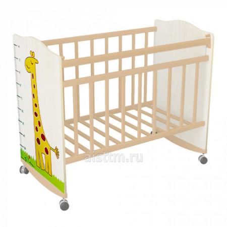 Кровать детская Морозко колесо качалка - Белый белый жираф
