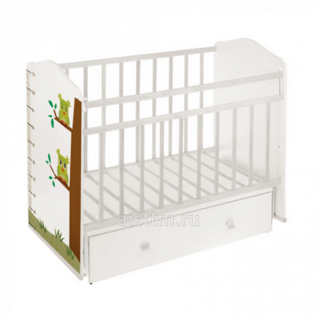 Кровать детская Морозко маятник,ящик - Белый белы совы
