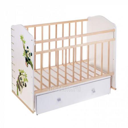 Кровать детская Морозко маятник,ящик - Беж слоновая кость панда