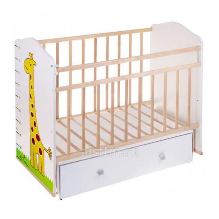 Кровать детская Морозко маятник,ящик - Беж слоновая кость жираф