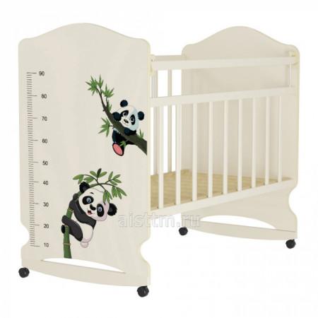 Кровать детская Морозко  колесо-качалка с маятником - Беж слоновая кость панда