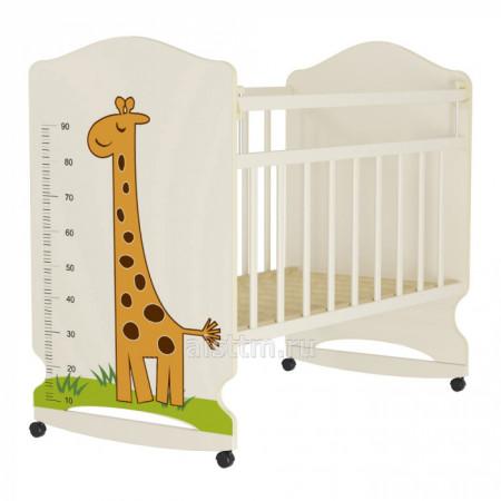 Кровать детская Морозко  колесо-качалка с маятником - Беж слоновая кость жираф
