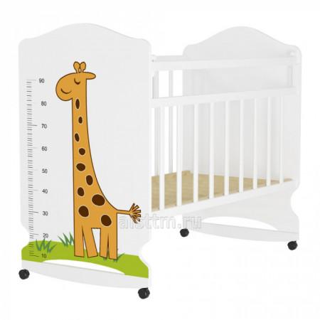Кровать детская Морозко  колесо-качалка с маятником - Белый белый жираф