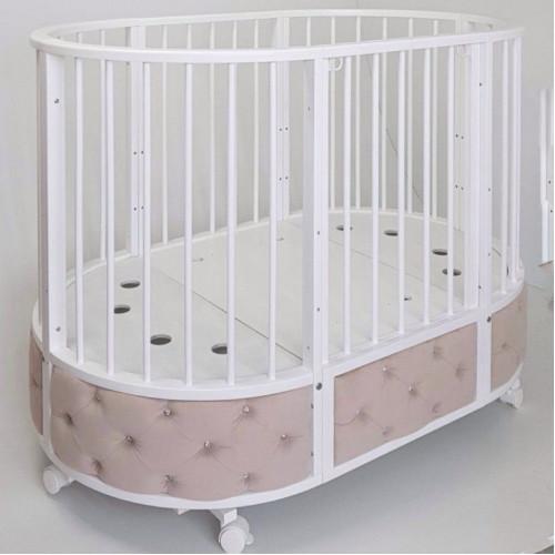 Кровать детская Островок уюта овальная с маятником EVA декор VIP