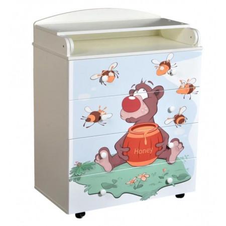 Комод детский Кедр Fantasia little bee - белый