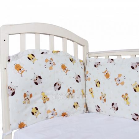 Борт в кроватку 360*40, из 4-х частей, чехлы съемные, бязь - бежевый