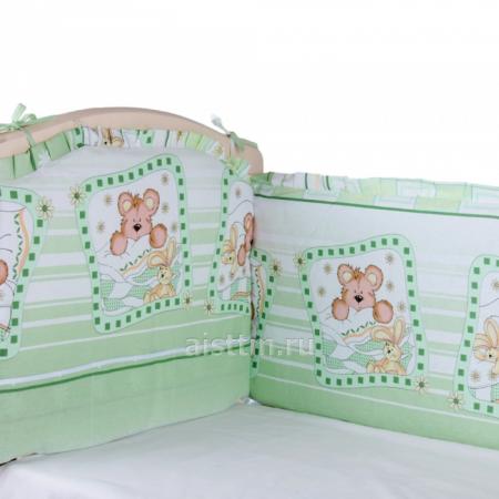 Борт в кроватку 360*40, из 4-х частей, чехлы съемные, бязь - зеленый
