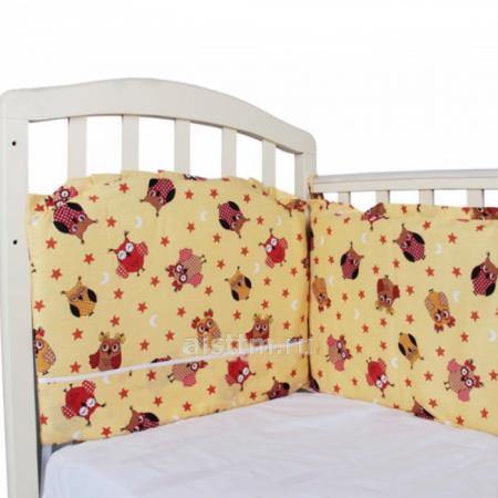 Борт в кроватку 360*40, из 4-х частей, чехлы съемные, бязь - желтый