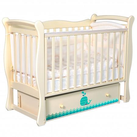 """Детская кроватка Camellia """"Маленький Кит"""" (универсальный маятник) - слоновая кость"""