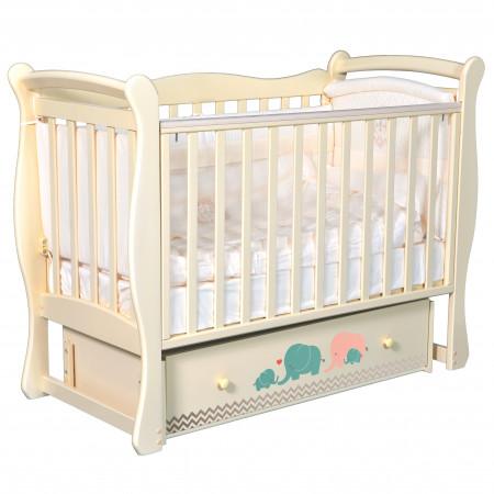"""Детская кроватка Camellia """"Мэри бирюза/серый"""" (универсальный маятник) - слоновая кость"""