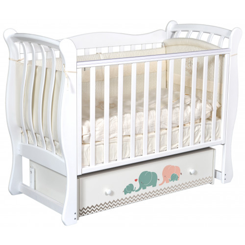 """Детская кроватка Tiffany """"Мэри бирюза/серый"""" (универсальный маятник)"""