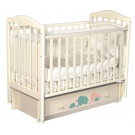 """Детская кроватка Daniella """"Мэри бирюза/серый"""" (универсальный маятник)  - слон. кость"""