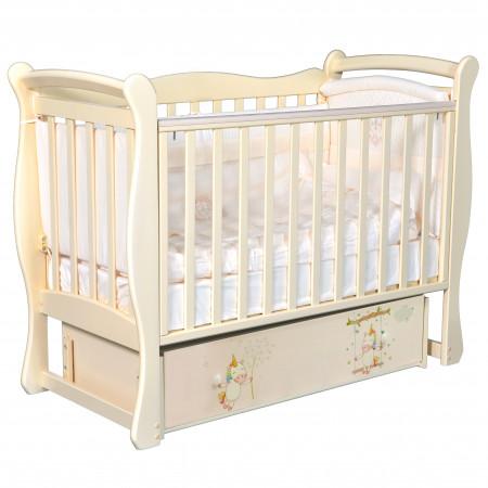 """Детская кроватка Camellia """"Радужные единороги"""" (универсальный маятниук) - слоновая кость"""