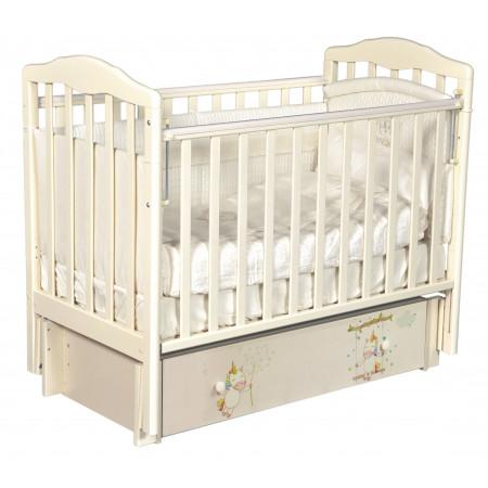 """Детская кроватка Daniella """"Радужные единороги"""" (универсальный маятник) - слон. кость"""