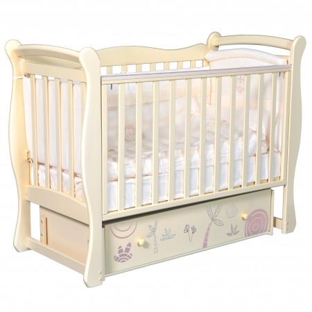 """Детская кроватка Camellia """"Сафари"""" (универсальный маятник)  - слоновая кость"""