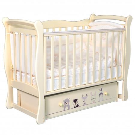 """Детская кроватка Camellia """"Зверополис"""" (универсальный маятник) - слон. кость"""
