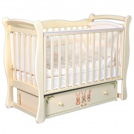 """Детская кроватка Camellia """"Зайки"""" (универсальный маятник) - слоновая кость"""