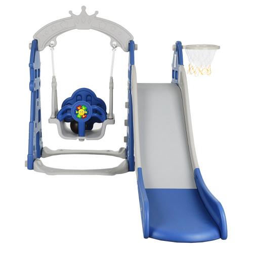 Горка-Комплекс Замок (горка, качели) (звук) Синий/ серый