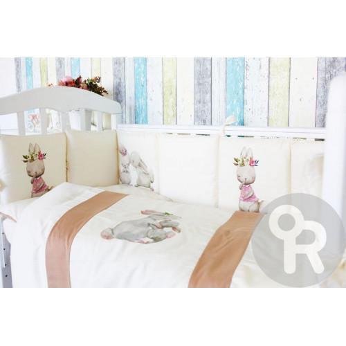 Комплект белья в кроватку 6 предметов Топотушки Зайка Акварель