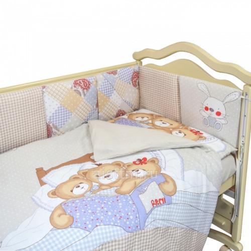 """Комплект в кроватку """"мишки под одеялом"""" (6 предметов)"""