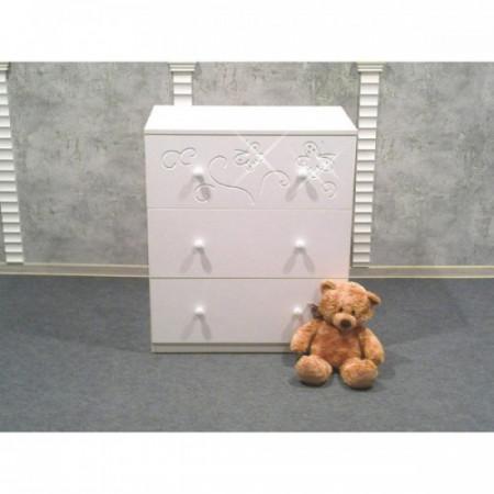Комод детский «Бабочки» съемный пеленальный стол - Белый