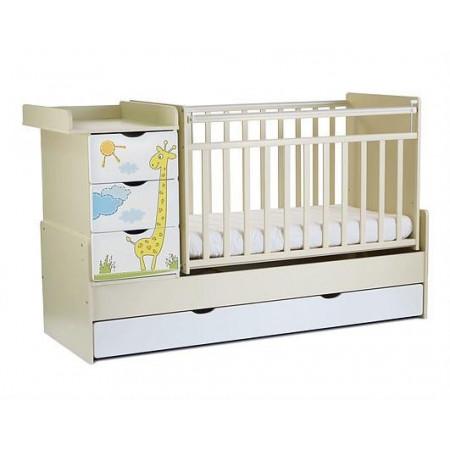 Детская кроватка-трансформер СКВ-5 Жираф (маятник поперечный) - Бело-бежевый
