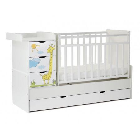 Детская кроватка-трансформер СКВ-5 Жираф (маятник поперечный) - Белый