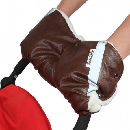 BAMBOLA Муфта для коляски (шерстяной мех+Экокожа) - коричневый