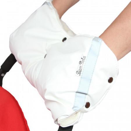 BAMBOLA Муфта для коляски (шерстяной мех+Экокожа) - Белый