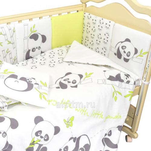 Комплект в кроватку 4 предмета Панды