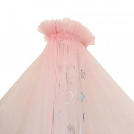 Балдахин в кроватку микросетка  - розовый