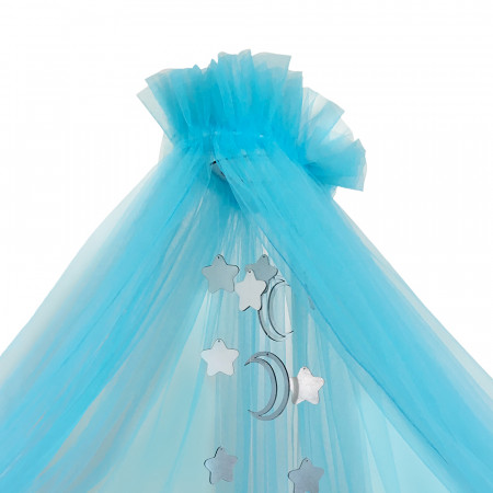Балдахин в кроватку микросетка  - голубой