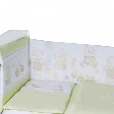 Борт в кроватку Мишка - зеленый