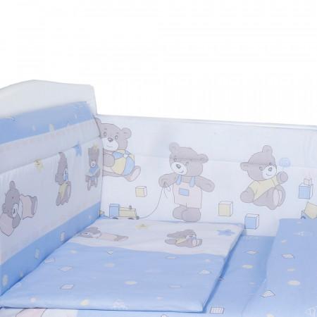 Борт в кроватку Мишка - голубой