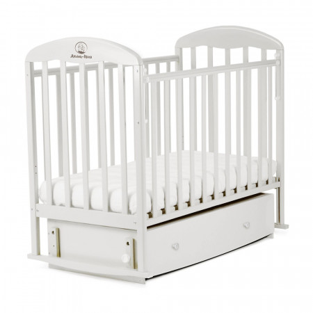Кровать детская ВЕНЕЦИЯ маятник поперечный, ящик - белый